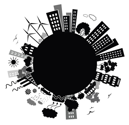 MOLINOS DE VIENTO: Fondo del ambiente. Vectores