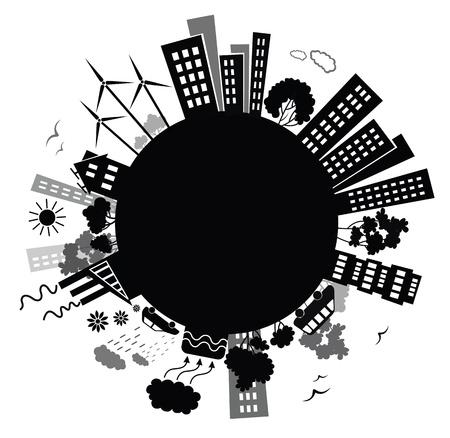 moinhos de vento: Fundo ambiente. Ilustração