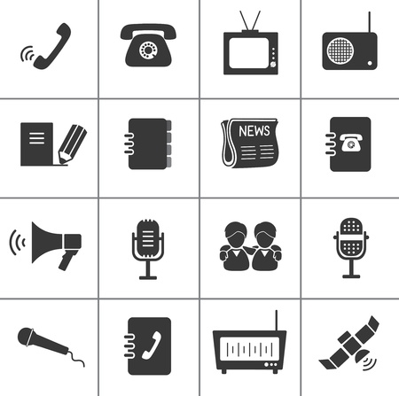 microfono de radio: Conjunto de iconos de comunicación. Vectores