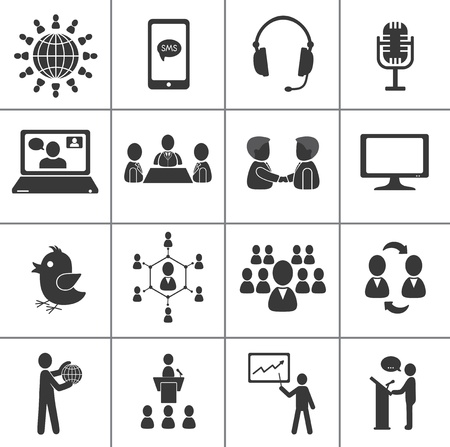 conference speaker: Set of communication and business icons.
