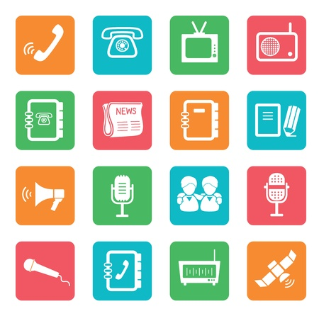 Set of communication icons. Color buttons.  Stock Vector - 20352734