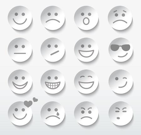 emozioni: Set di facce con varie espressioni di emozione. Vettoriali