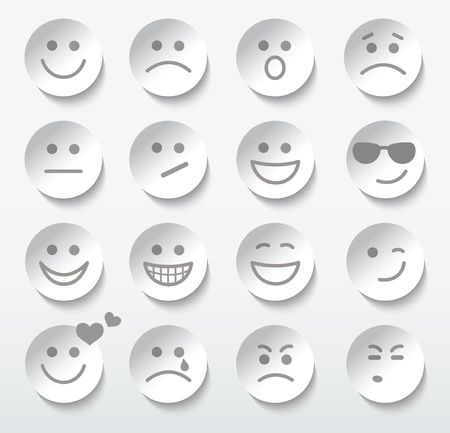 Set of faces with various emotion expressions.  Ilustração