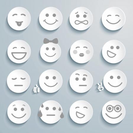 cara sonriente: Conjunto de caras con diferentes expresiones de emoción.