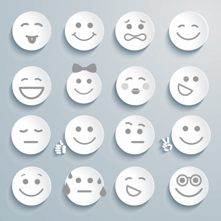 Set of faces with various emotion expressions.  Illustration