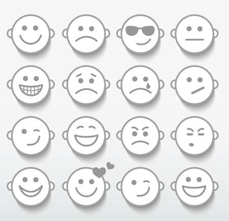 happy sad: Set di facce con varie espressioni di emozione. Vettoriali