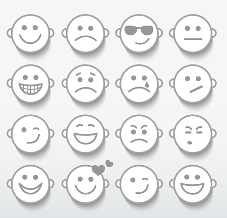 boring: Set of faces with various emotion expressions.  Illustration