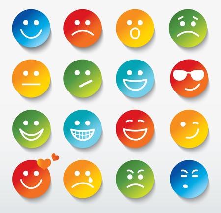 sonrisas dientes: Conjunto de caras con diferentes expresiones de emoci? Vectores