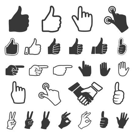 Hand icon. Vector set.  Çizim