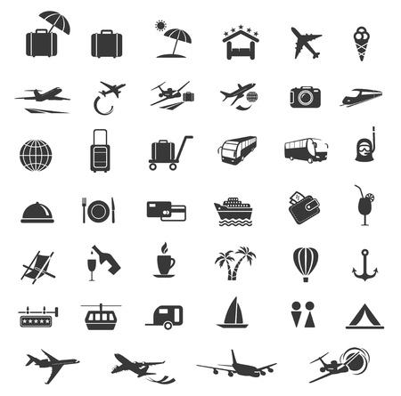 airplane icon: Travel Icons  Set of Design Elements