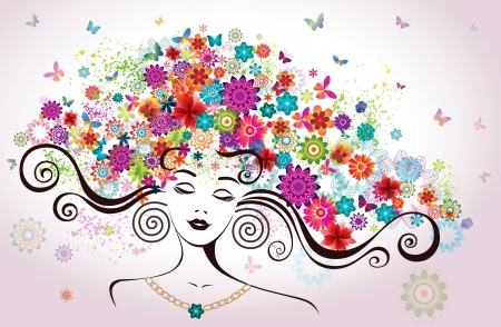 abstract flowers: Beautiful Woman with Flowers