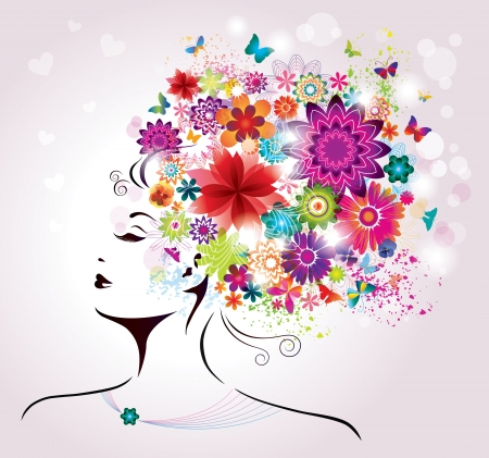 cosmetology: Beautiful style Woman with Flowers and Butterflies   Illustration