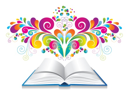Open book with color splash and curl   Иллюстрация
