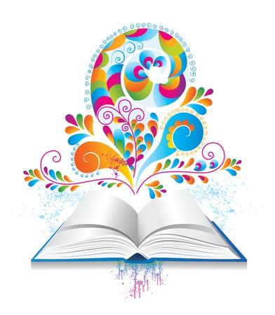 Met kleur splash en krul open boek Stock Illustratie