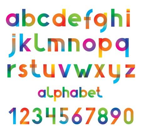 barvitý: Barevné vektorové písmo a čísla Ilustrace