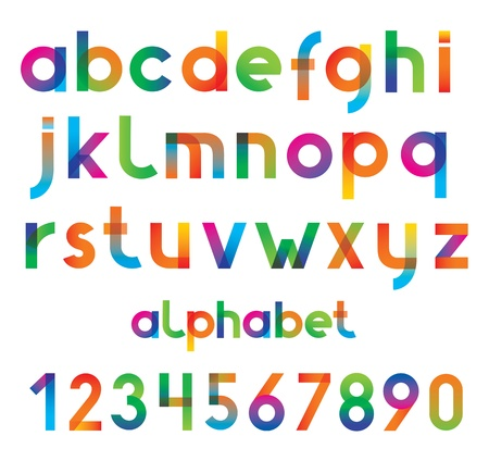 types: Colorful vector font and numbers