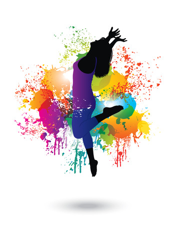 woman jump: Dancing Woman  Colorful dancing concept 1