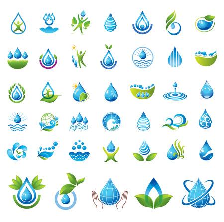 一連のベクトルの水アイコン