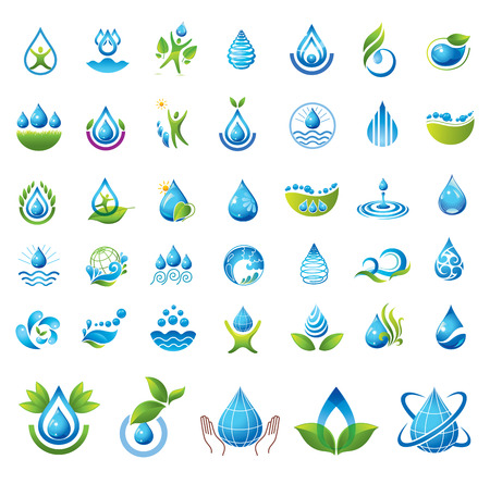 distilled water: Conjunto de iconos del vector del agua
