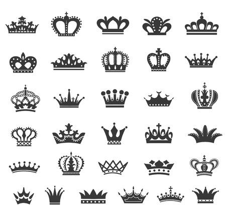 crown silhouette: Set di corona icone vettoriali Vettoriali