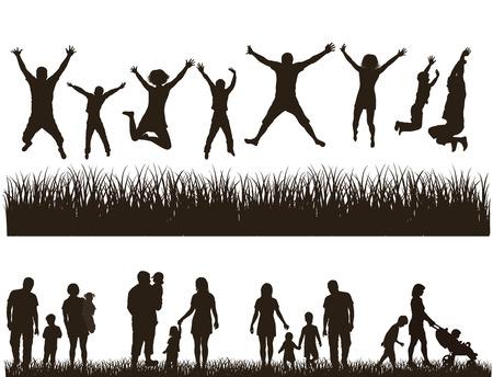 Jeune famille active Concept Set Banque d'images - 24250458