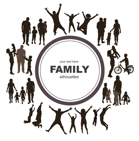 семья: Молодая семья концепция Рама с семейными силуэты Иллюстрация