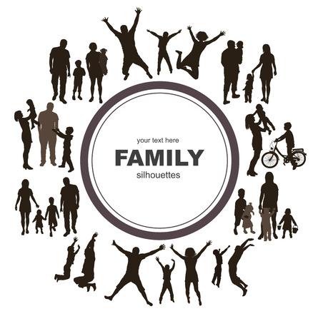 부모: 가족 실루엣 젊은 가족 개념 프레임