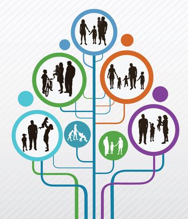Familie concept Abstracte boom met familie silhouetten