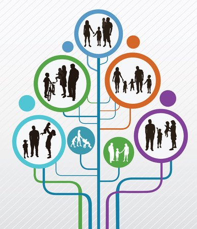 happy black family: Family concept Abstract tree with family silhouettes   Illustration