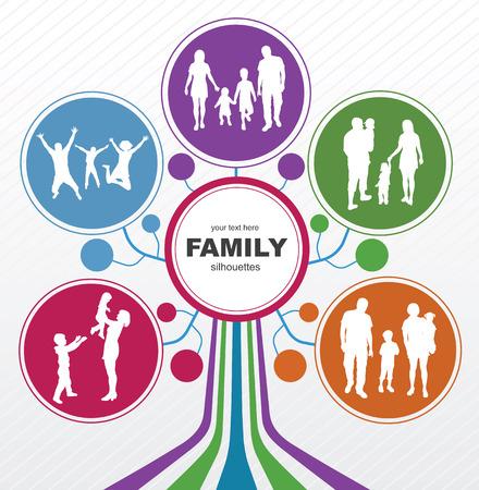 家族のシルエットと家族概念背景抽象ツリー