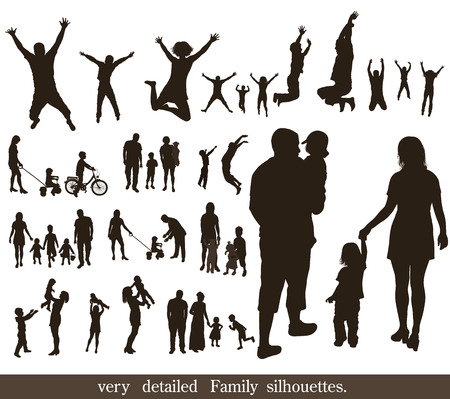 action girl: Set of very detailed family silhouettes  Jumping and walking   Illustration