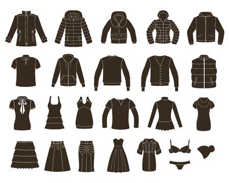 Conjunto de las mujeres s, y la ropa de los hombres s Foto de archivo - 24504872