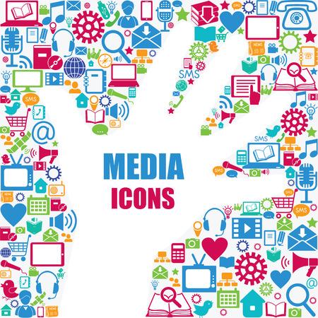 retro design elements: Background with media icons  Modern and retro design elements