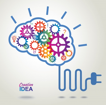 conceptual bulb: Creative Brain Idea concept background
