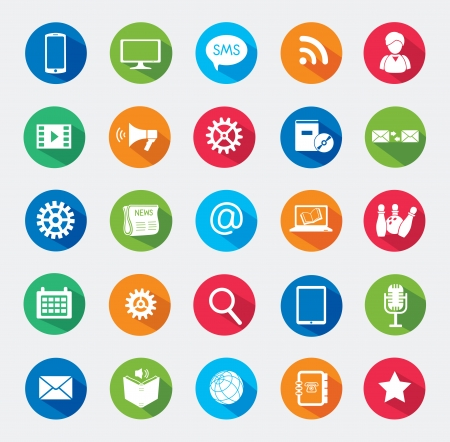 Modern media design elements  Flat icons   Vector
