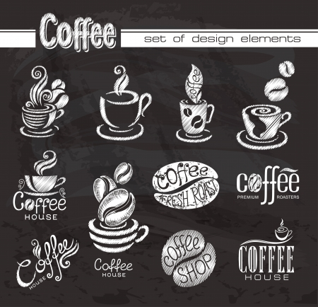 coffee shop: Coffee  Design elements on the chalkboard  Illustration