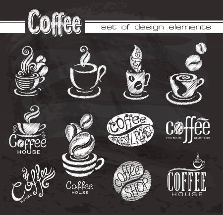 caf�: Elementi di disegno di caff� sulla lavagna