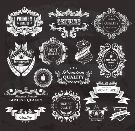 Vintage Styled Premium Quality and Satisfaction Guarantee Label on the chalkboard  Vector
