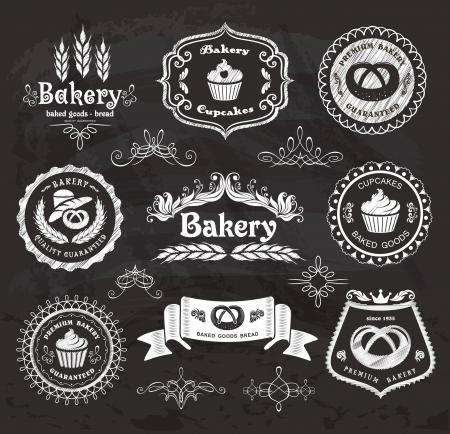 baked goods: Set of vintage retro bakery labels on the chalkboard  Illustration