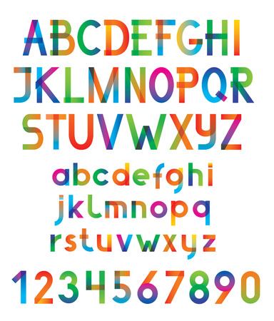 Colorful vector font and numbers