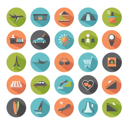 Set of modern flat icons  Travel   Vector