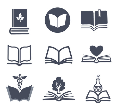 library book: Set of vector book icons   Illustration