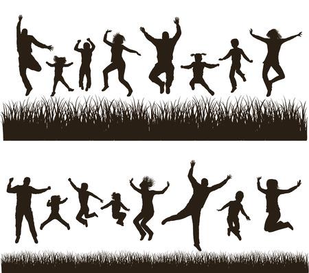 personas saltando: Familia activa joven siluetas muy detalladas conjunto conceptual