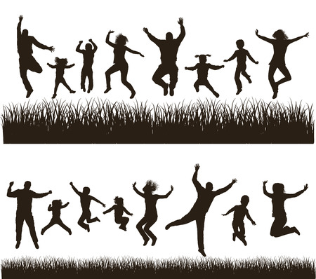jumping people: Young active family   Very detailed silhouettes  Conceptual set