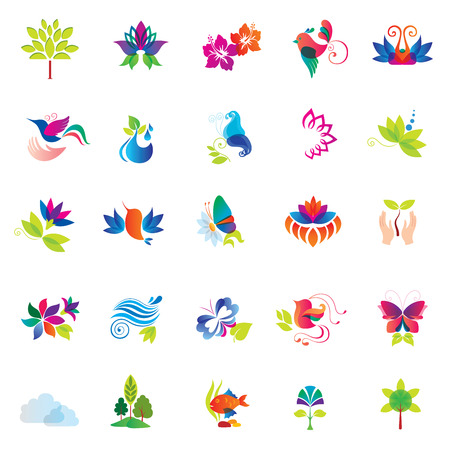 Set of Colorful Design Elements  Nature icons   Vector