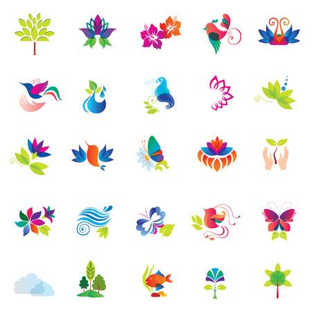 Set of Colorful Design Elements  Nature icons   Illustration