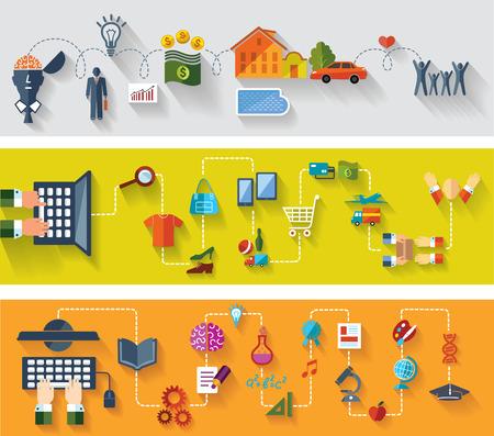 Piso y web banners de diseño Conjunto de antecedentes conceptuales Negocios compras en línea La educación moderna con internet Foto de archivo - 28054719