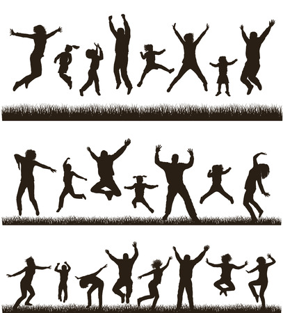 woman jump: Young active family  Very detailed silhouettes  Set