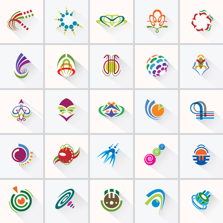 ABSTRACT COLORFUL DESIGN ELEMENTS   Collection with icons for abstract logo   Vector