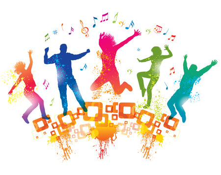 gente bailando: Los jóvenes en el partido